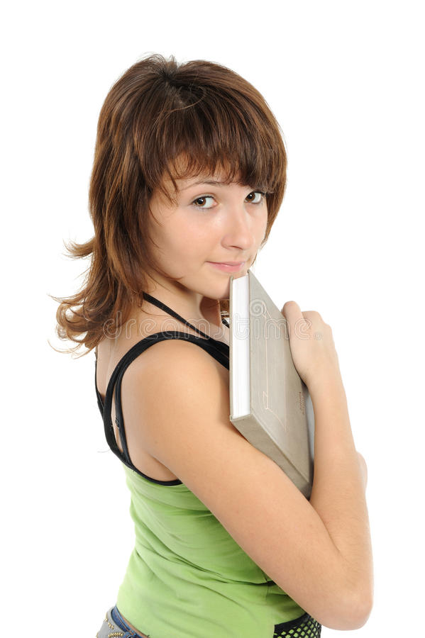 Girl the teenager with the book smiles stock photos