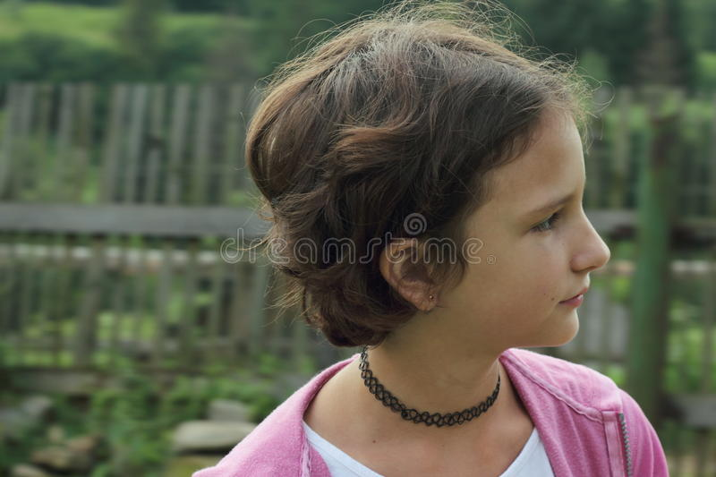 Girl teenager in the choker. Portrait stock photos