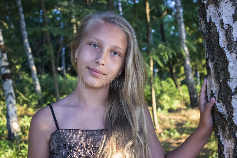 Girl teenager in a grove of birches royalty free stock photo