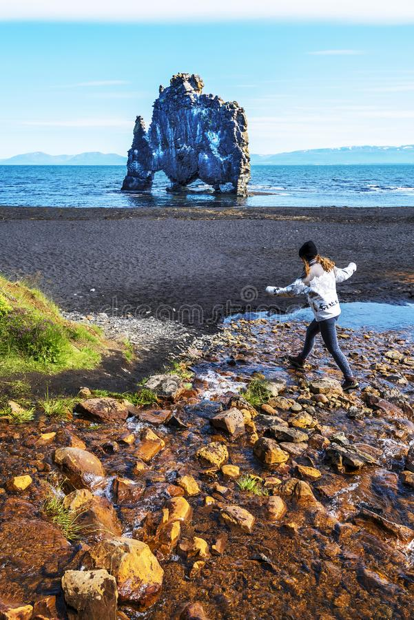 Girl teenager is jumping over water stream in the border of Hindisvik bay in Northwest Iceland, the Hvitserkur basalt stack is at. Background. There is the stock image
