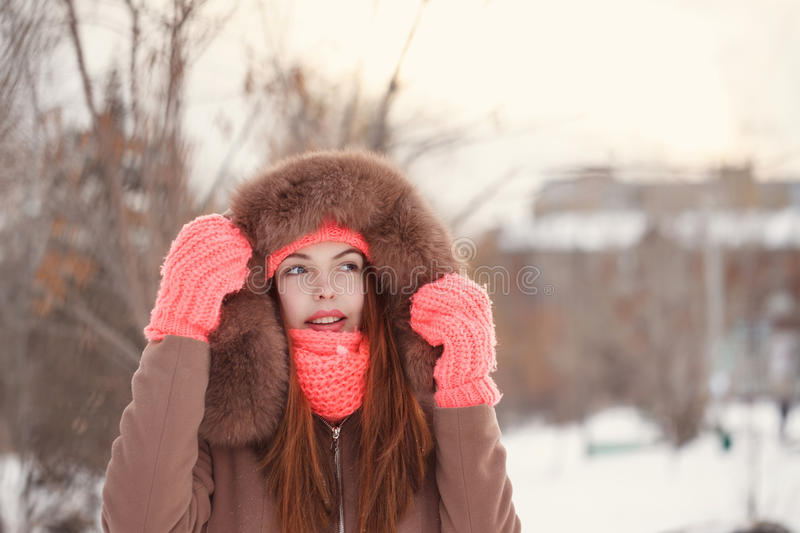 Girl teenager in winter. royalty free stock images