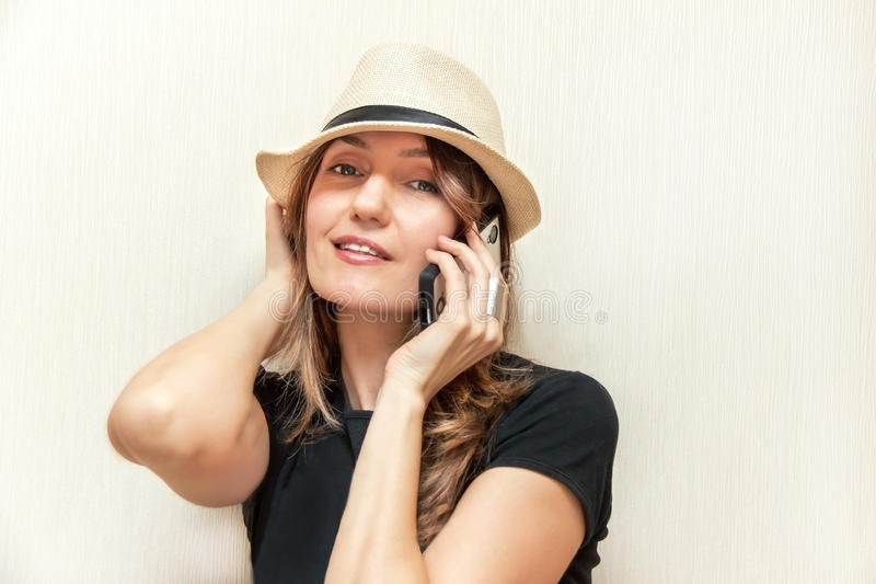 Download The girl with telephone. stock image. Image of internet - 38402619