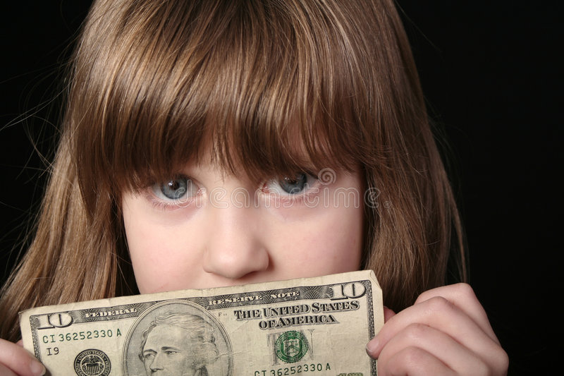 Girl With Ten Dollar Bill Stock Photography
