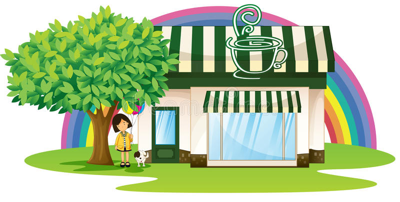 A girl and tent coffee shop vector illustration