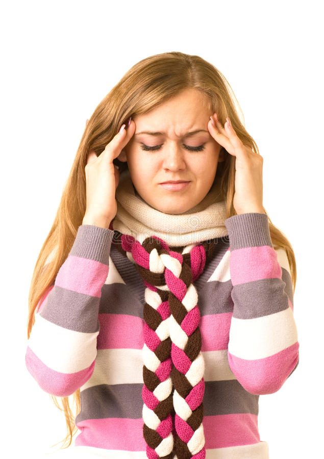 Girl With Terrible Headache Holding Head In Pain Stock Image