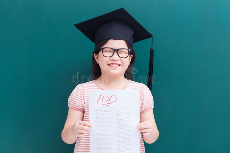 Girl test with full score stock images