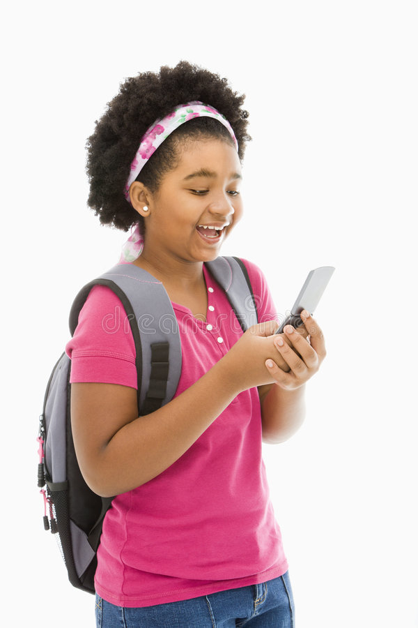 Download Girl text messaging. stock photo. Image of child, african - 3423126
