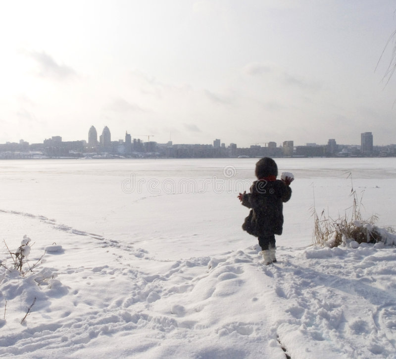 Download Girl At Thebank Of Frozen River Stock Photo - Image: 8654080
