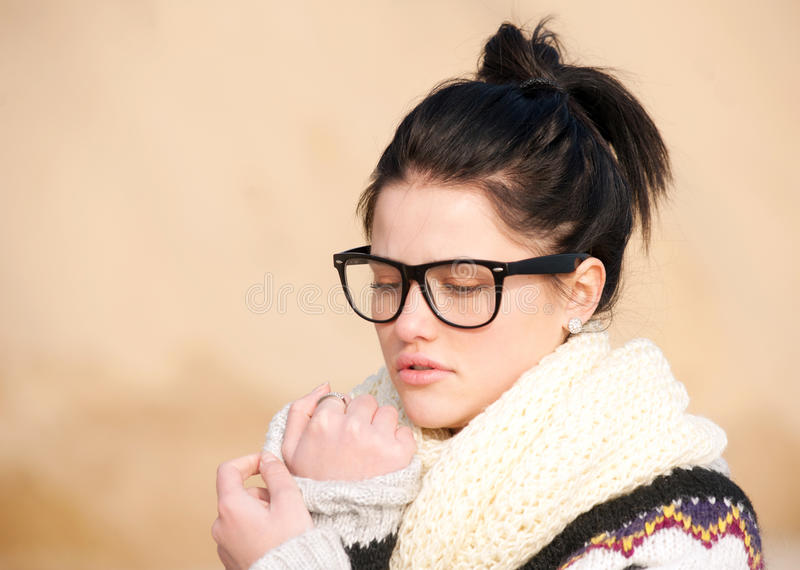Girl With Thick-rimmed Glasses Stock Photos