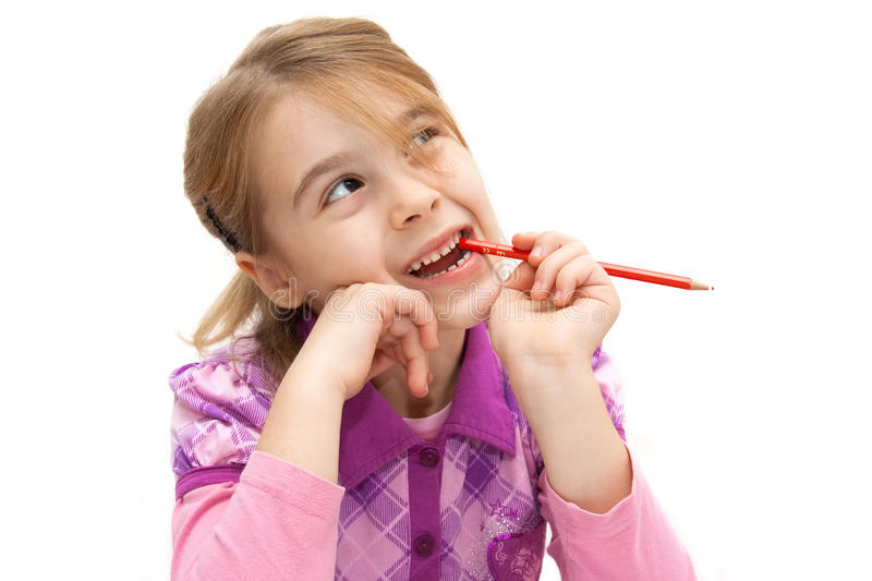 Download Girl thinking stock photo. Image of child, expression - 17289010
