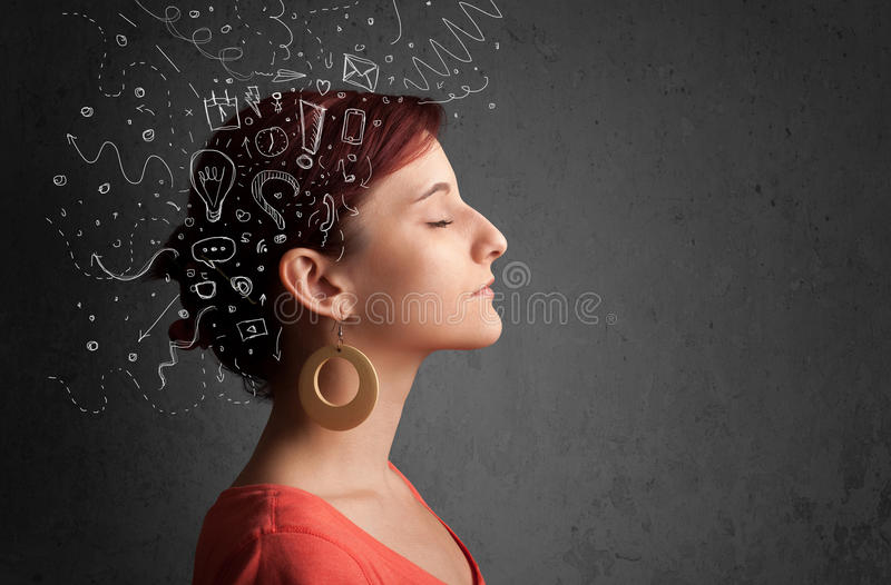 girl thinking with abstract icons on her head royalty free stock photos