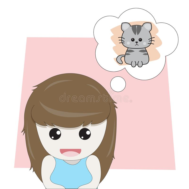 Girl is thinking about cute kitten royalty free illustration