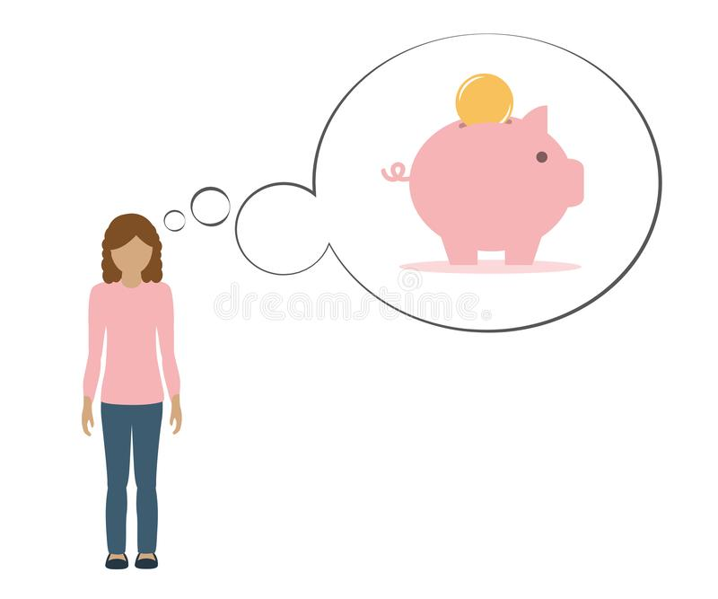 Girl is thinking about saving money in a piggy bank stock illustration