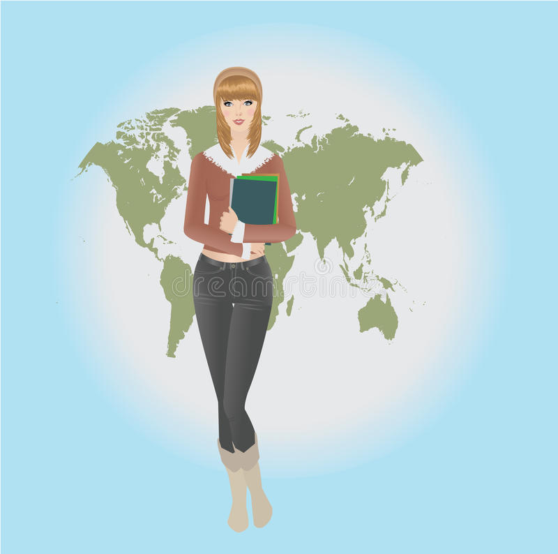 Download Girl Thinking About Studying And Travelling Stock Vector - Image: 11880342