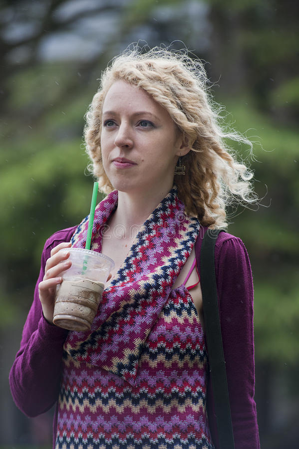 Download Girl In Thought With Coffee Stock Photo - Image: 26148740