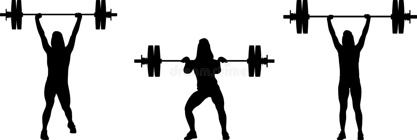 Girl in three different poses weight lifting. girl raises weights vector illustration