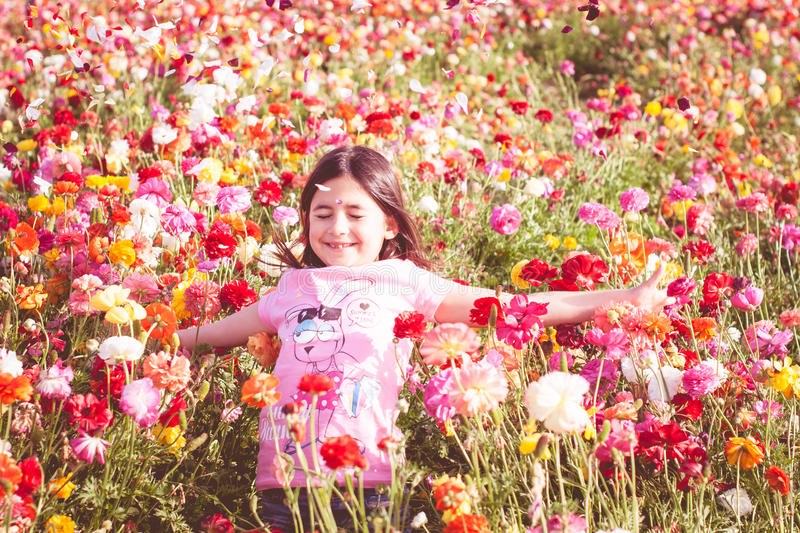 Girl throwing flower petals. In a field royalty free stock image