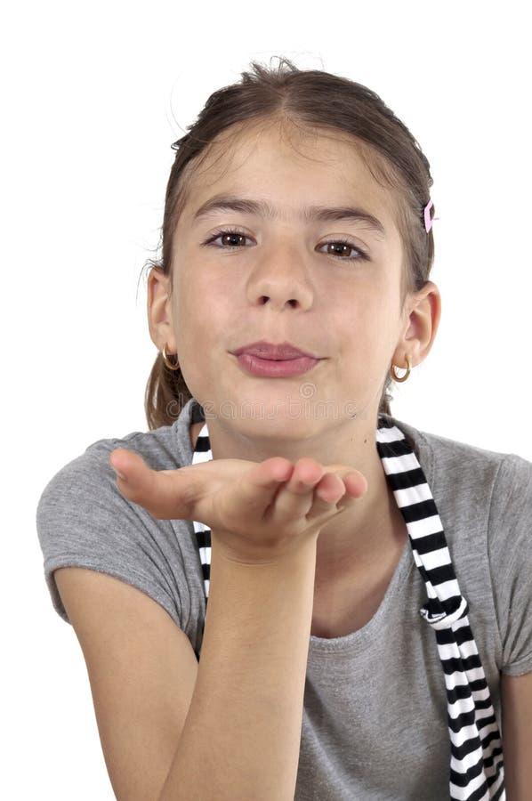 Download Girl Throwing Kiss On Studio Shot Stock Image - Image of looking, throw: 31732957