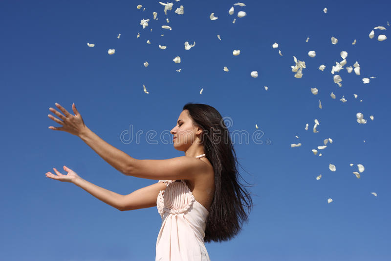 Download Girl throwing petals stock image. Image of happiness - 15327921