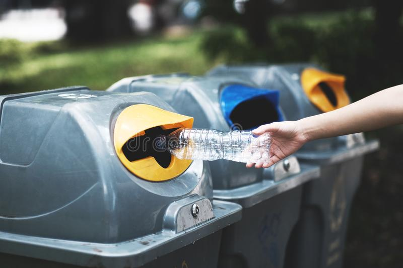The girl is throwing plastic bottles into the trash for recycling. Recycle, garbage, environment, ecology, waste, bin, rubbish, green, people, environmental royalty free stock photo