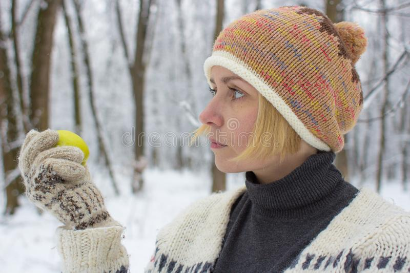 Warm knitted women`s clothing stock image