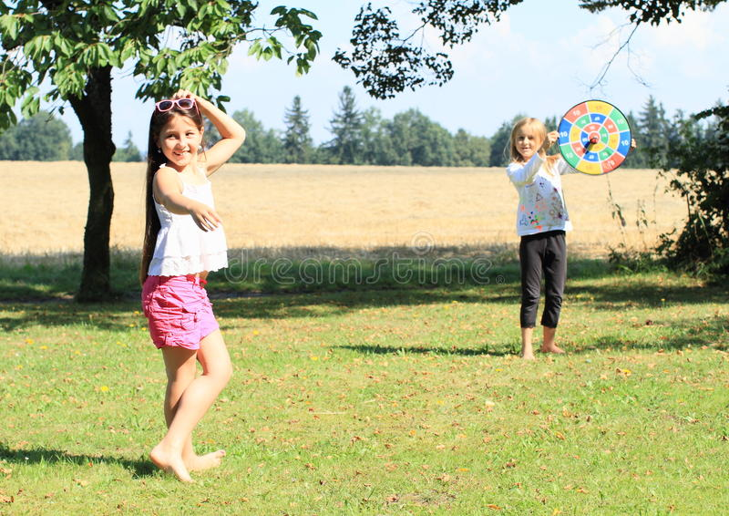 Download Girl throwing on a target stock photo. Image of bare - 33269442