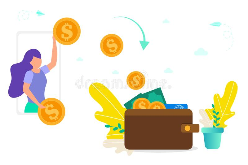 Girl throws gold coins from smartphone to wallet, concept of giving/receiving money, online payment, turning online money into cas stock images