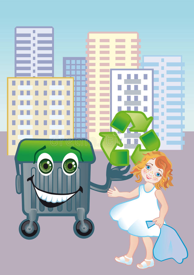 Download A girl throws out garbage stock vector. Image of cleaning - 21223673
