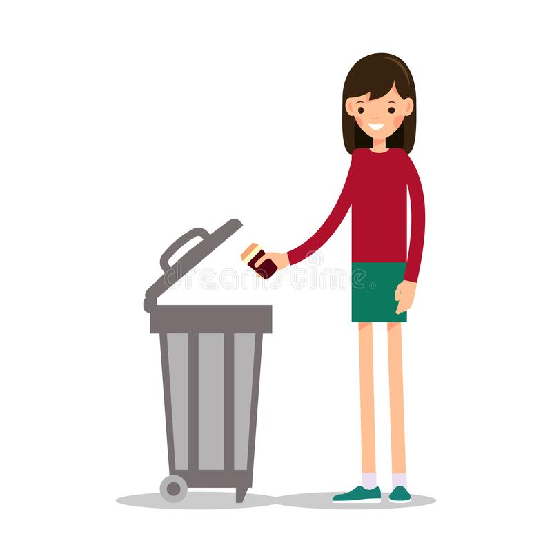 Girl throws out a paper cup from under coffee stock illustration