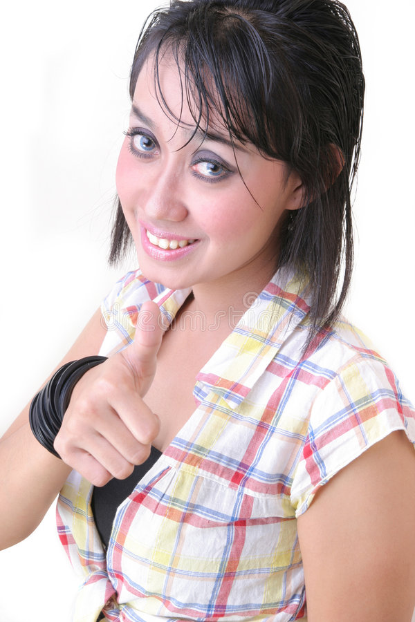 Girl with thumb up stock photo