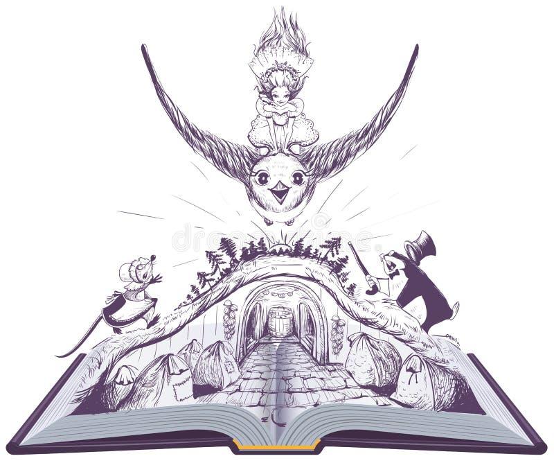 Girl Thumbelina flies on swallow. open book fairy tale illustration royalty free illustration