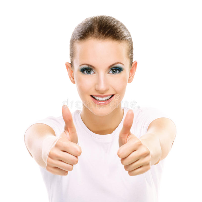 Girl with thumbs up royalty free stock photography