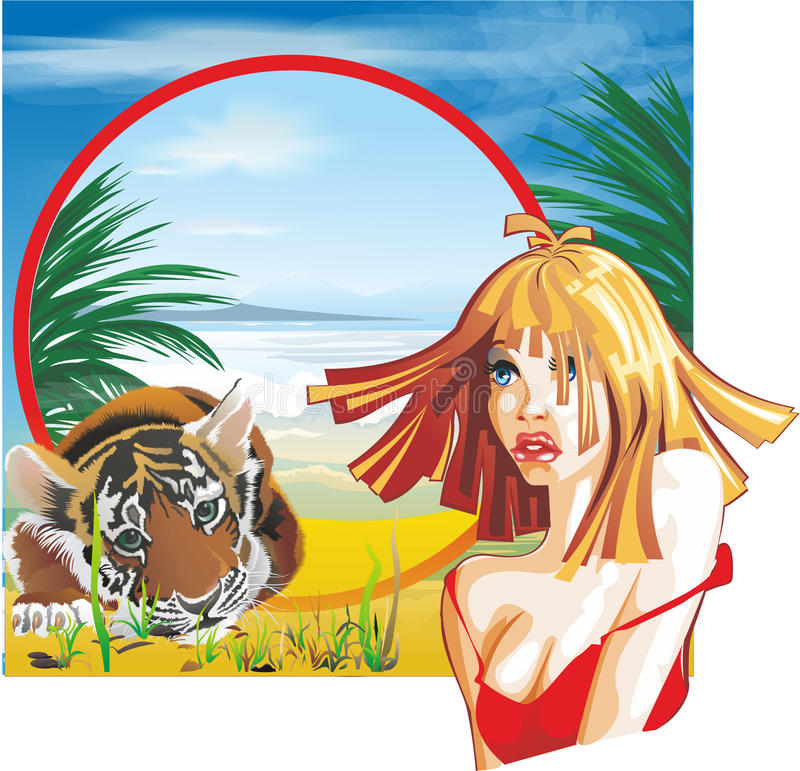 GIRL AND TIGER royalty free illustration