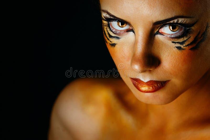 Girl tigress stock photography