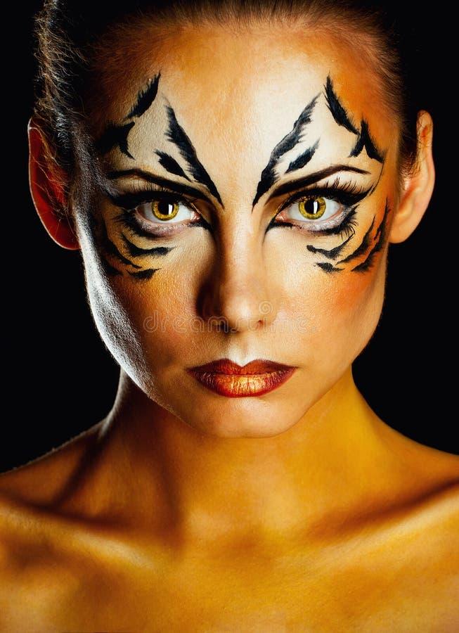 Girl tigress royalty free stock images