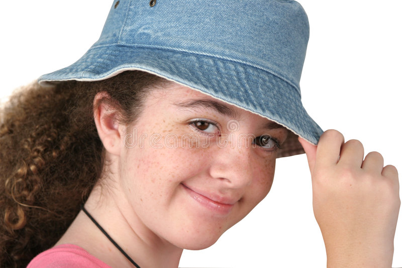 Girl Tipping Hat stock image