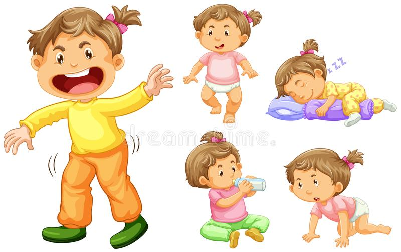 Girl toddler in different actions. Illustration vector illustration