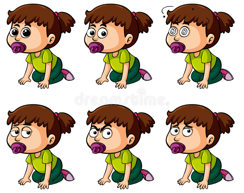 Girl toddler with different facial expressions. Illustration stock illustration