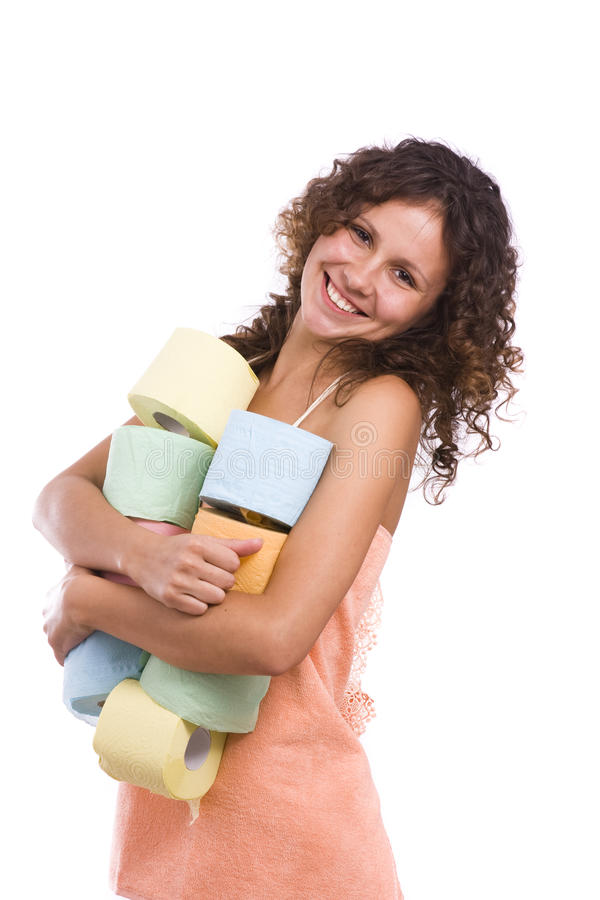 Girl with toilet paper. Smiley woman with roll of colored toilet paper. Isolated over white background royalty free stock images