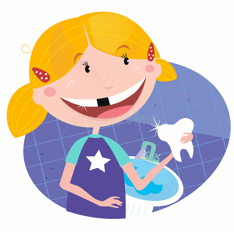 Girl with tooth in the bathroom stock illustration