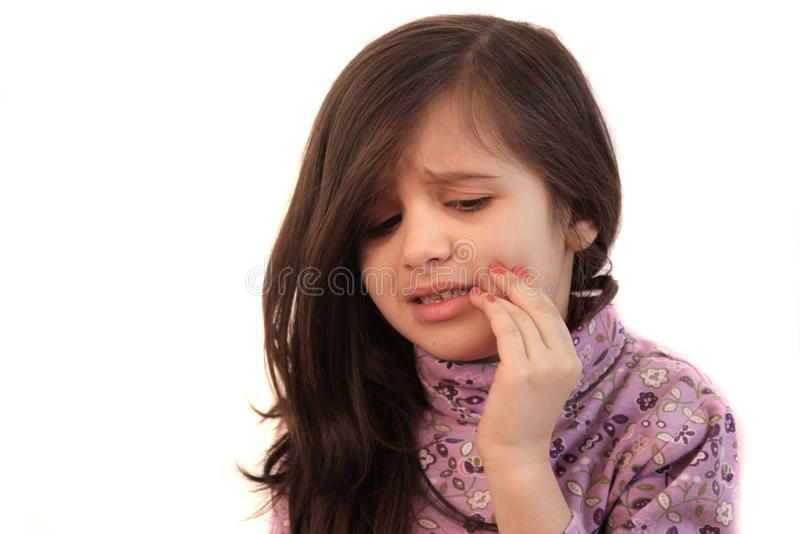 Girl with toothache royalty free stock photo