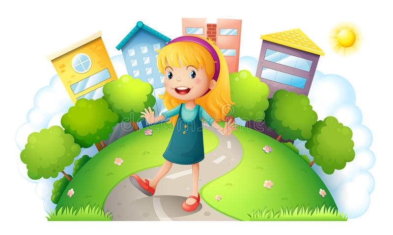 Download A Girl At The Top Of The Hill With Buildings Stock Vector - Image: 32709616