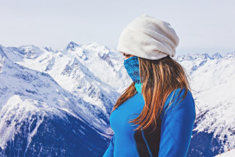 Girl on top of the mountains stock photos