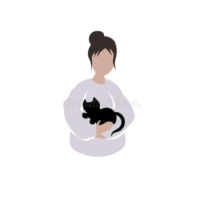 Girl with a torn bangs holding a black cat. The black kitten feels safe while the girl's hands hold him tight. A girl in a funny purple sweater found royalty free illustration