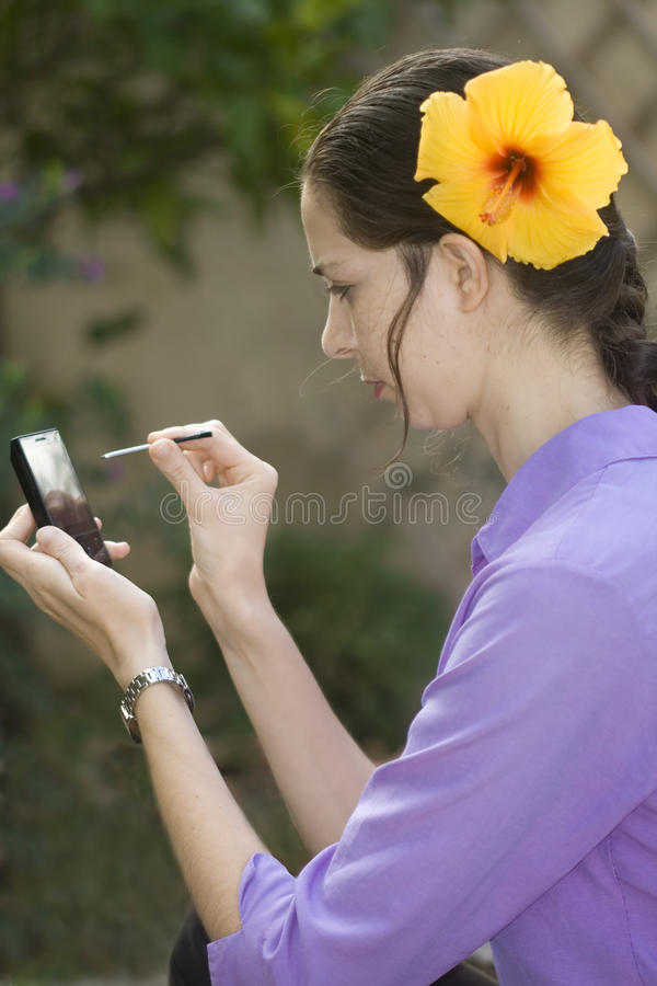 Download Girl with touch phone stock photo. Image of pretty, texting - 16651132