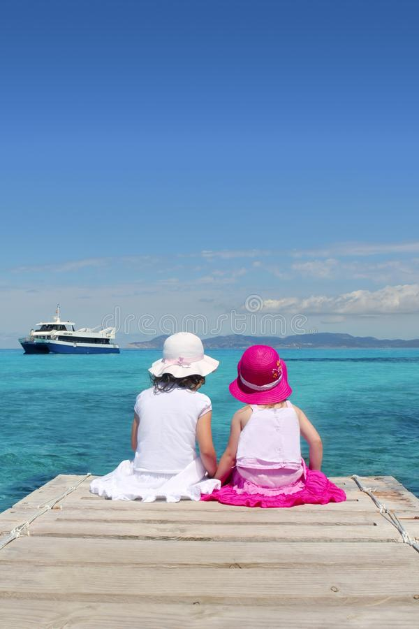 Girl tourist turquoise sea in Formentera stock photography
