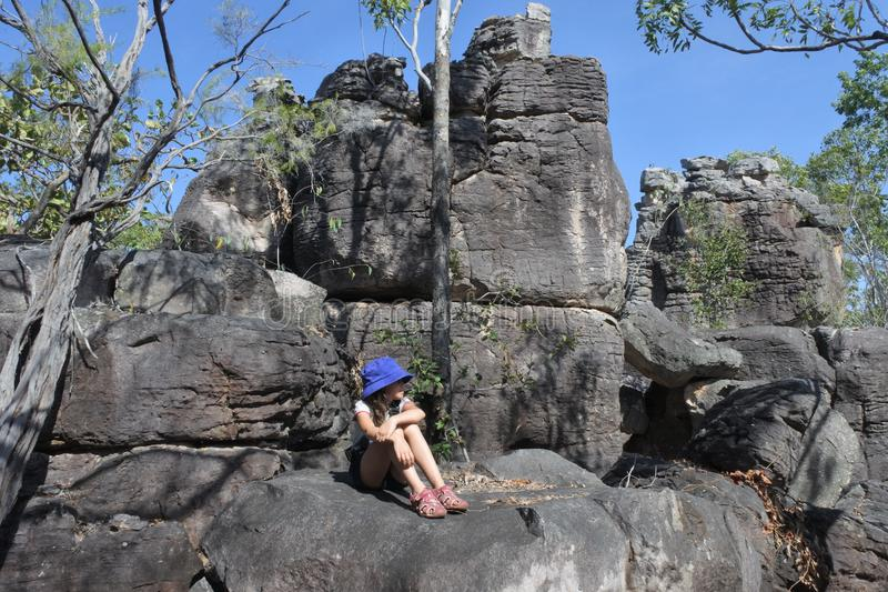 Girl tourist visit at The Lost City Litchfield National Park Northern Territory Australia stock photography