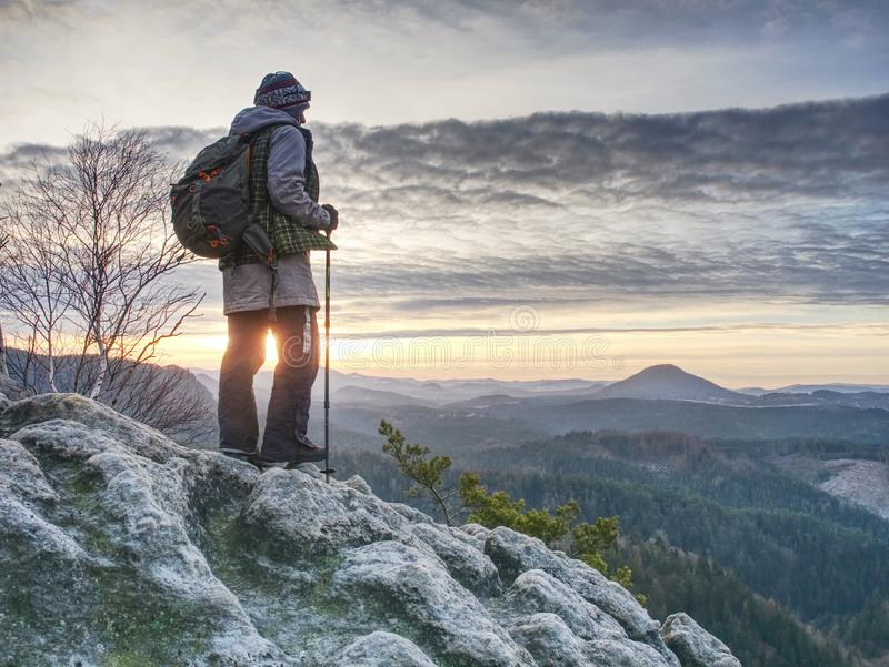 Naked Male Hairy Legs On Peak Of Rock Above Misty Valley Stock Image - Image Of -9446