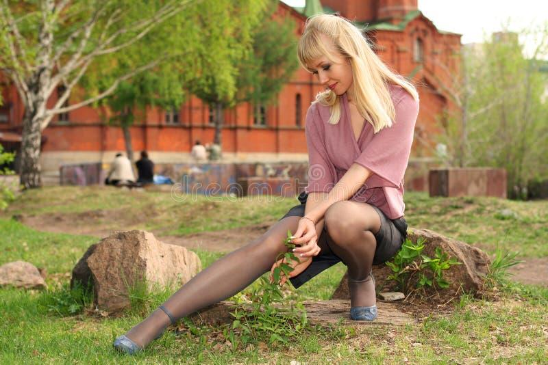 Girl in town park stock photos