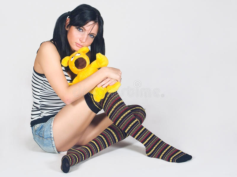 Download Girl with toy stock photo. Image of mascotte, amigo, looking - 22703680